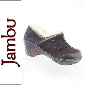Jambu Comfort Clogs Brown Suede Faux Fur Trim 8.5